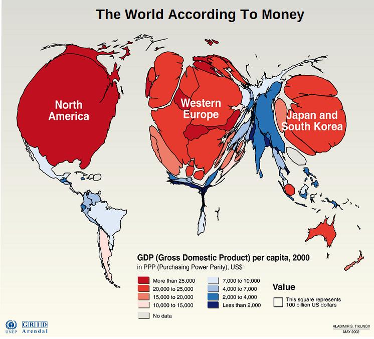 PI The World According To Money RiskWerk - Us money map